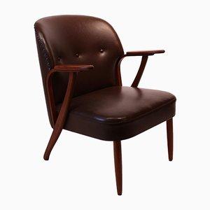 Poltrona danesa de cuero marrón oscuro y teca, años 40