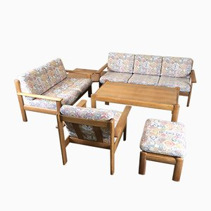 Vintage Oak Living Room Set, 1970s