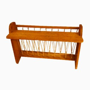 Vintage Wooden Magazine Rack with Shelf & String Rack