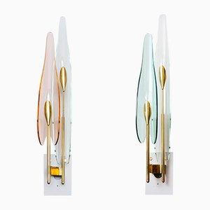 Dahlia Wandlampen von Fontana Arte, 1950er, 2er Set