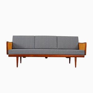 Sofá cama de teca y ratán de Peter Hvidt & Orla Mølgaard-Nielsen para France & Søn, años 60