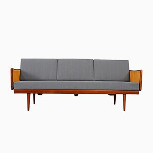 Teak & Rattan Daybed Sofa by Peter Hvidt & Orla Mølgaard-Nielsen for France & Søn, 1960s