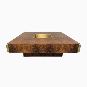 Tavolino da caffè Alveo Burl in legno di Willy Rizzo per Mario Sabot, anni '70