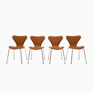 Silla apilable Butterfly modelo 3107 danesa vintage de acero y cuero de Arne Jacobsen para Fritz Hansen. Juego de 4