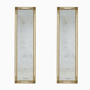 Große vergoldete & lackierte französische Spiegel, 2er Set