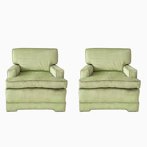 Hollywood Regency Celadon Green Velvet Armchairs, 1970s, Set of 2