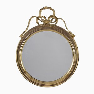 Round Vintage French Brass Mirror with Rope Bow, 1960s