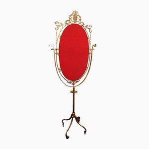 Specchio da toeletta vintage in ottone