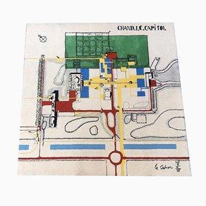 Alfombra Chandigarh Capitol de lana de Le Corbusier, años 70