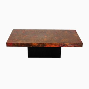 Etched & Fire Oxidized Copper Coffee Table by Bernhard Rohne, 1960s