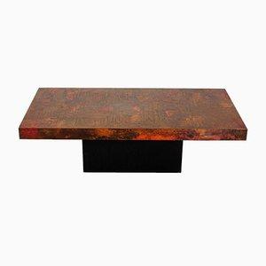 Table Basse en Cuivre Gravé et Oxydé par Bernhard Rohne, 1960s