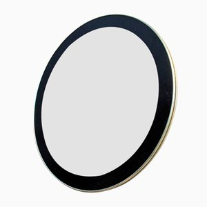 Round Vintage Mirror with Golden Edge and Painted Black Frame