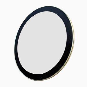 Runder Vintage Spiegel mit Goldrand und schwarz lackiertem Rahmen
