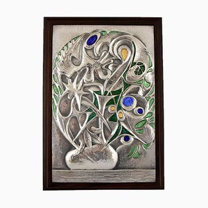 Mid-Century Italian Sterling Silver Floral Wall Panel by Ottaviani, 1960s