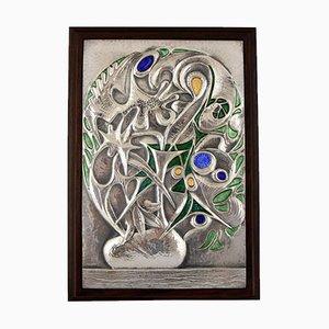 Pannello da parete Mid-Century floreale in argento di Ottaviani, Italia, anni '60