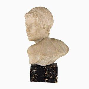 Busto Art Déco de mármol de Child Achilles de Constant Roux, años 20