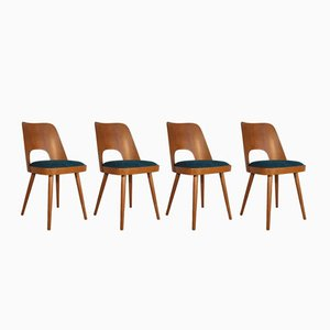 Beech & Blue Denim Model 515 Chairs by Oswald Haerdtl for TON, Set of 4