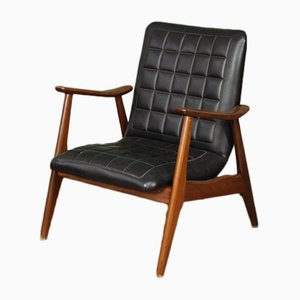Mid-Century Dutch Low Back Armchair by Louis van Teeffelen