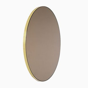 Round Bronze Tinted Orbis Mirror with Brass Frame by Alguacil & Perkoff Ltd