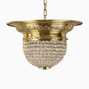 Lampada da soffitto Art Nouveau con perle in vetro, inizio XX secolo