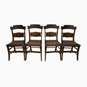 19th-Century French Painted Cane Chairs, Set of 4