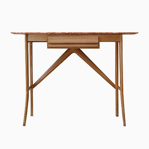 Wood & Marble Console Table, 1950s
