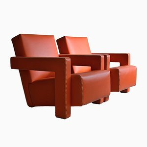 Utrecht Hermès Orange Leather Armchairs by Gerrit Rietveld for Cassina, 1990s, Set of 2
