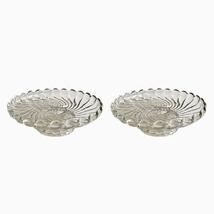 Antike französische Teller aus Kristallglas mit Bambusmuster von Baccarat, 2er Set