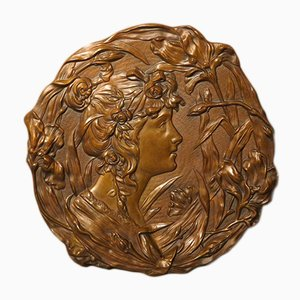 Relief Mural Art Nouveau en Bronze