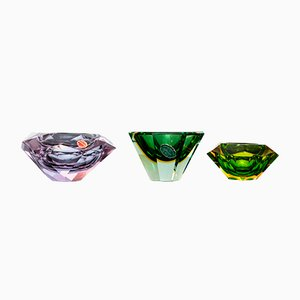 Faceted Sommerso Murano Glass Bowls, 1960s, Set of 3