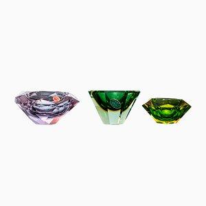 Geschliffene Schalen aus Sommerso Muranoglas, 1960er, 3er Set