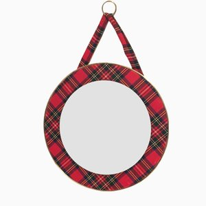 Vintage Red Plaid Mirror, 1960s