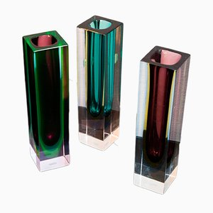 Murano Glass Vases by Flavio Poli for Seguso, 1960s, Set of 3