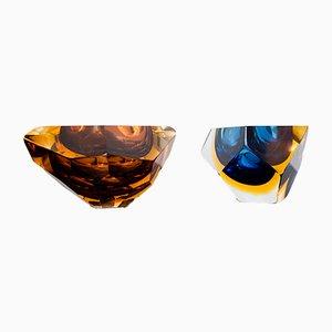Cuencos de cristal de Murano, años 60. Juego de 2