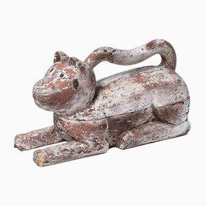 Antikes buntes chinesisches Gefäß aus Ulmenholz in Katzen-Optik