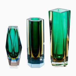 Jarrones Sommerso de cristal facetado de Murano, años 60. Juego de 3