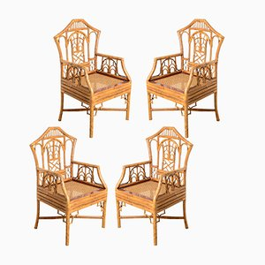 Vintage Pagoda Bamboo Cane Seat Chairs, 1960s, Set of 4