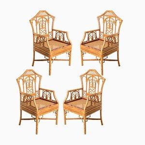 Vintage Pagoda Stühle aus Bambus mit Geflechtsitzen, 1960er, 4er Set