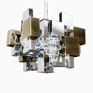 Lámpara de araña italiana era espacial de Stilkronen, años 60