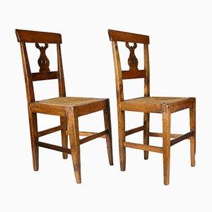 Sedie antiche a lira con sedute in paglia, Italia, set di 2