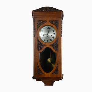 Antique Art Nouveau Walnut Pendulum Clock