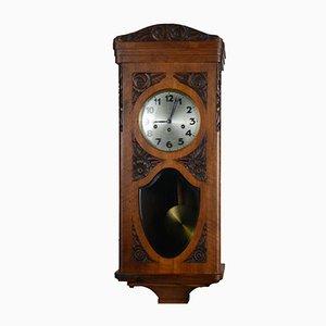 Orologio a pendolo Art Nouveau antico in legno di noce