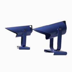 Blaue minimalistische dänische Wandlampen von Lyfa, 1980er, 2er Set