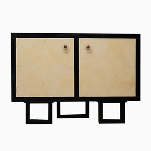Art Deco French Demi Lune Parchment Sideboard, 1930s