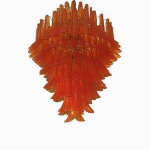 Lustre Rond Mid-Century en Verre de Murano Artisanal Orange, 1970s