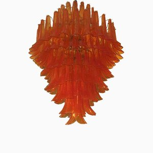 Mid-Century Orange Art Murano Glass Chandelier, 1970s