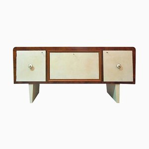 Art Deco Style Italian Walnut and Parchment Leather Sideboard, 1940s