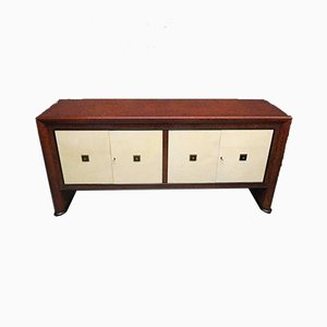 Art Deco Style Italian Maple Wood & Parchment Sideboard, 1940s