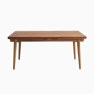 Large Vintage AT-312 Teak Dining Table with Oak Legs by Hans J. Wegner for Andreas Tuck