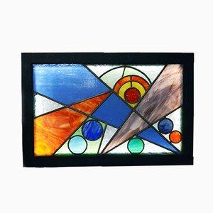Panel mural italiano de vidrio marmolado multicolor iluminado, 1976